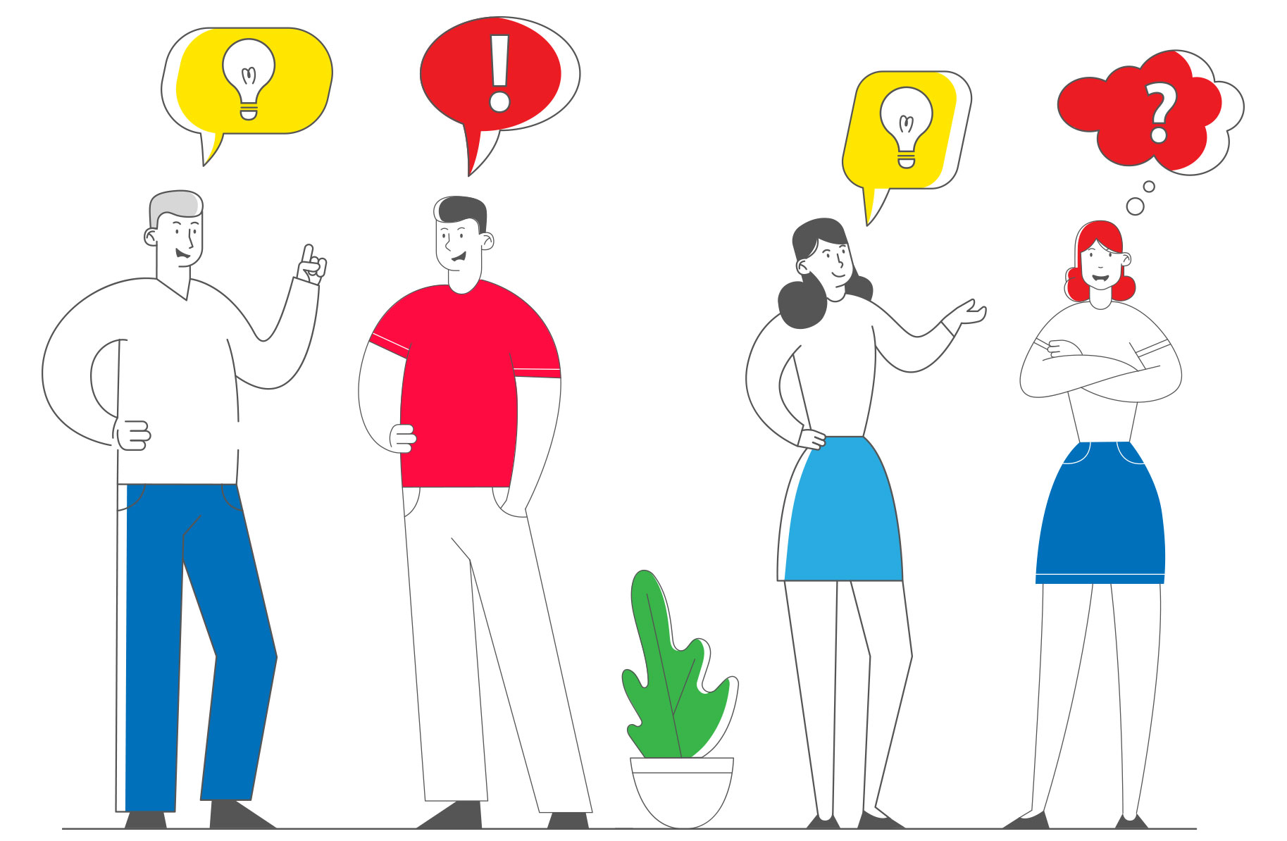 Illustration of a group of people not sharing ideas well